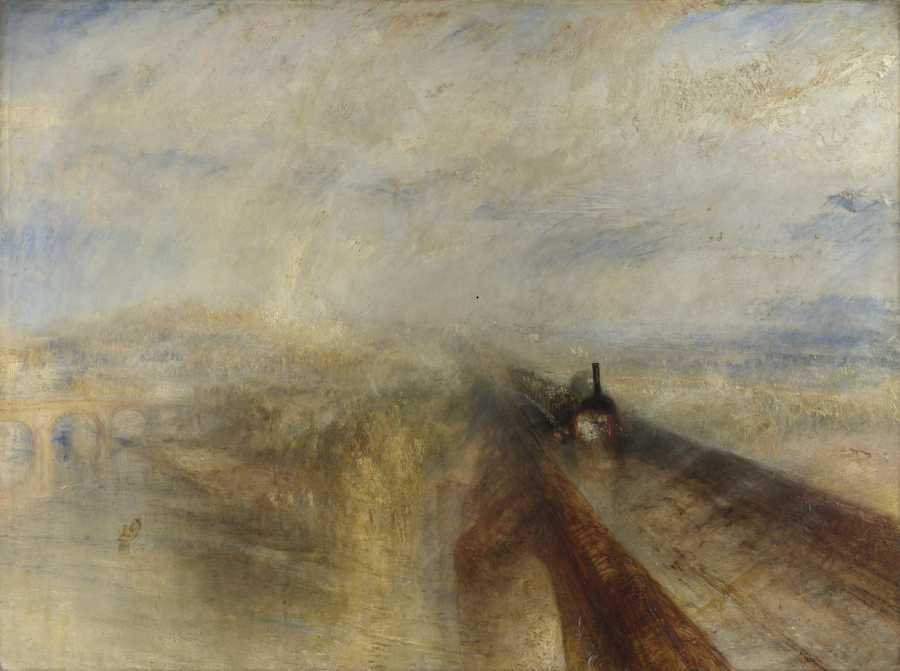 An impressionist steam train crossing an aqueduct