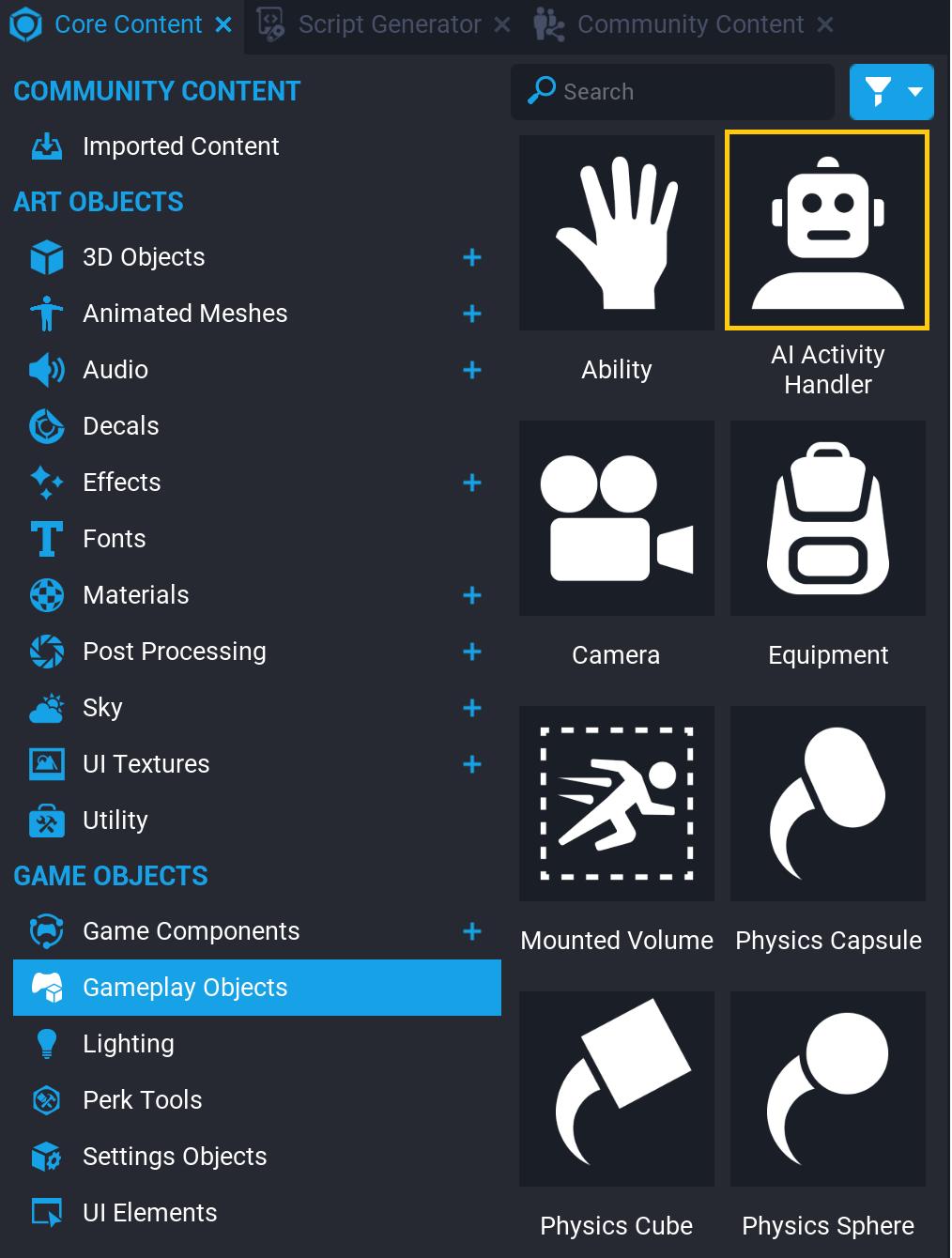 AI Activity Handler in Core Content