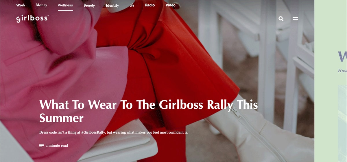 Girlboss homepage user interface design
