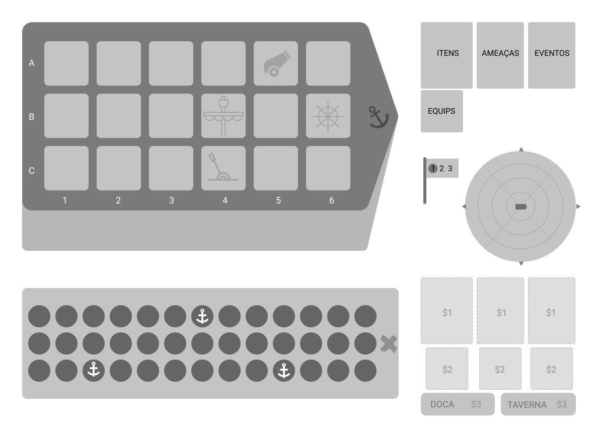 Wireframe de uma das versões do tabuleiro do jogo Sailor Rush