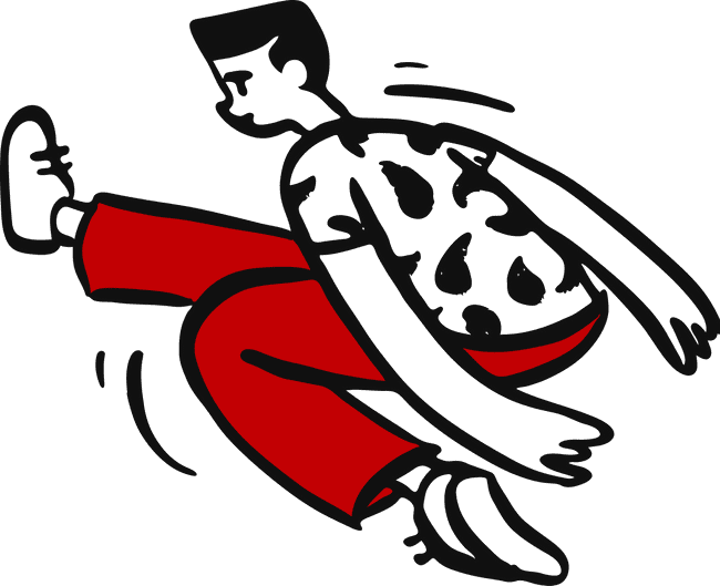 illustration slick man jumping with one foot stretched out moving fast