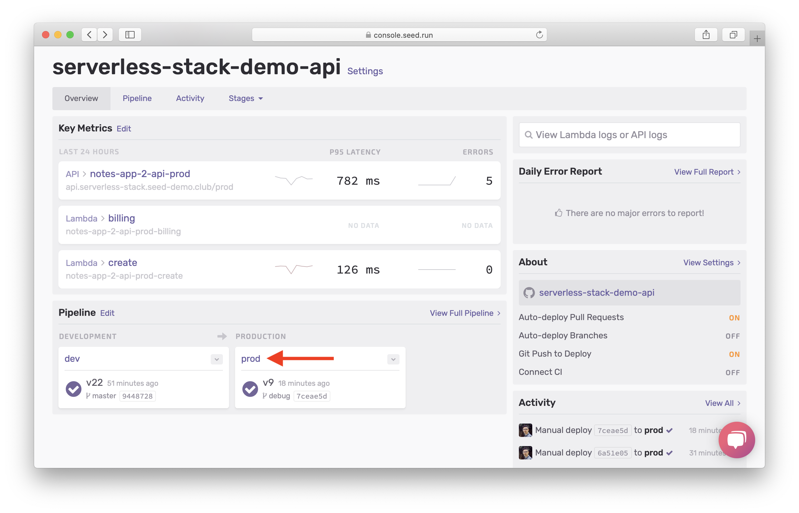 Click prod stage in Seed dashboard