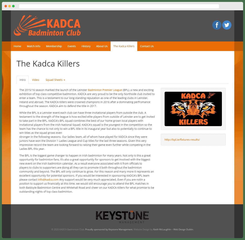 Kadca Badminton Club - Kadca Killers Page