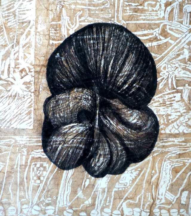 Konde 1, charcoal acrylic collage on canvas