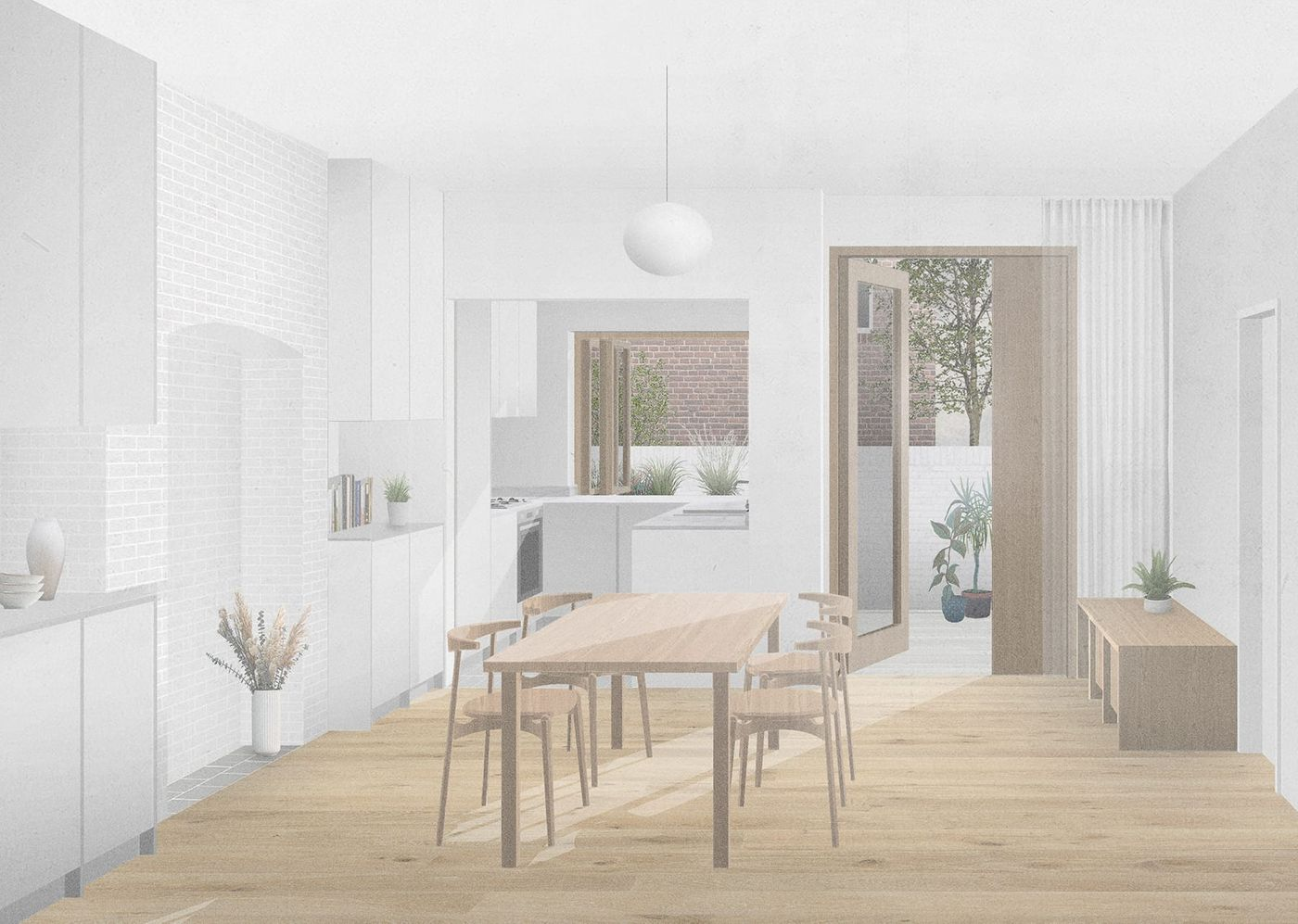 Internal view of the refurbished dining room and kitchen within the proposed dormer extension and refurbishment for the Whalley Road project designed by From Works.