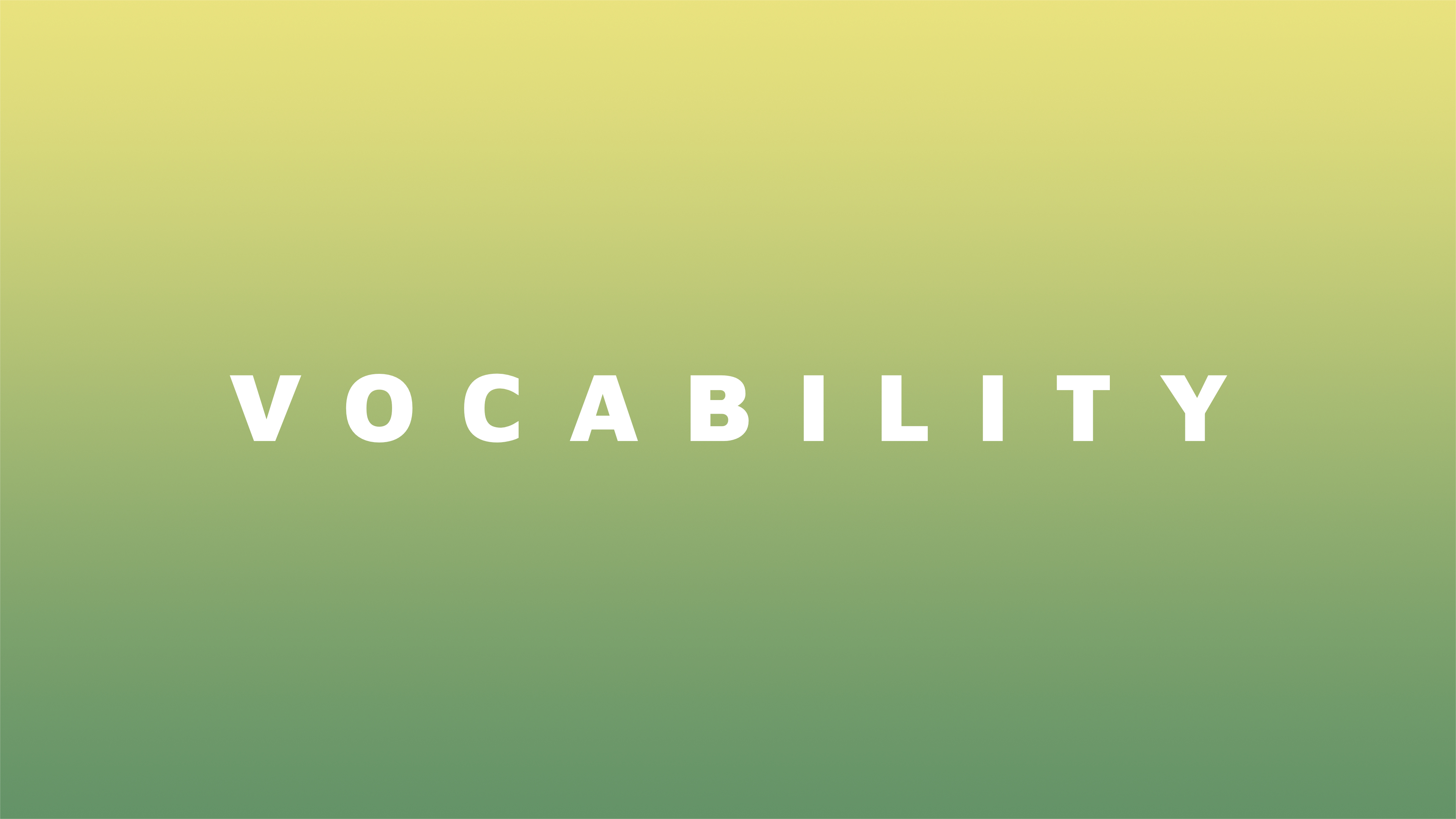Text: Vocability. On green background.