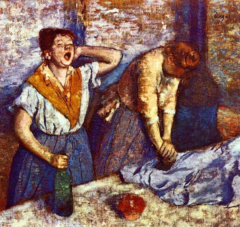 Degas repeatedly pictured women laundering clothes.