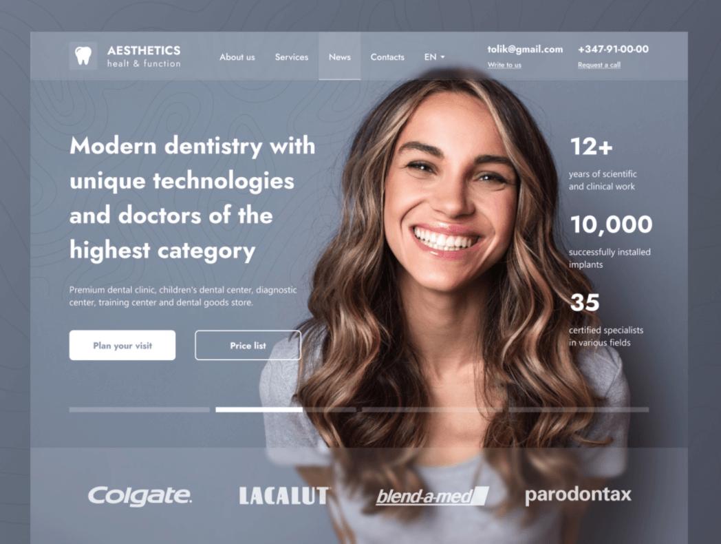 screenshot of website aesthetics dental