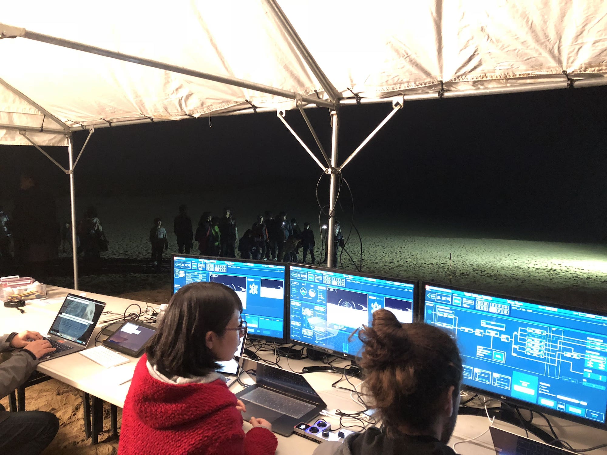 Mission Control Center on a field test in Tottori sand dunes