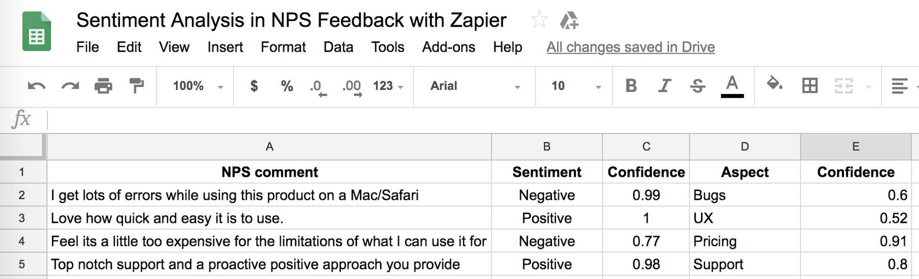 Sentiment Analysis from NPS feedback from Promoter.io, Satismeter or Retently.