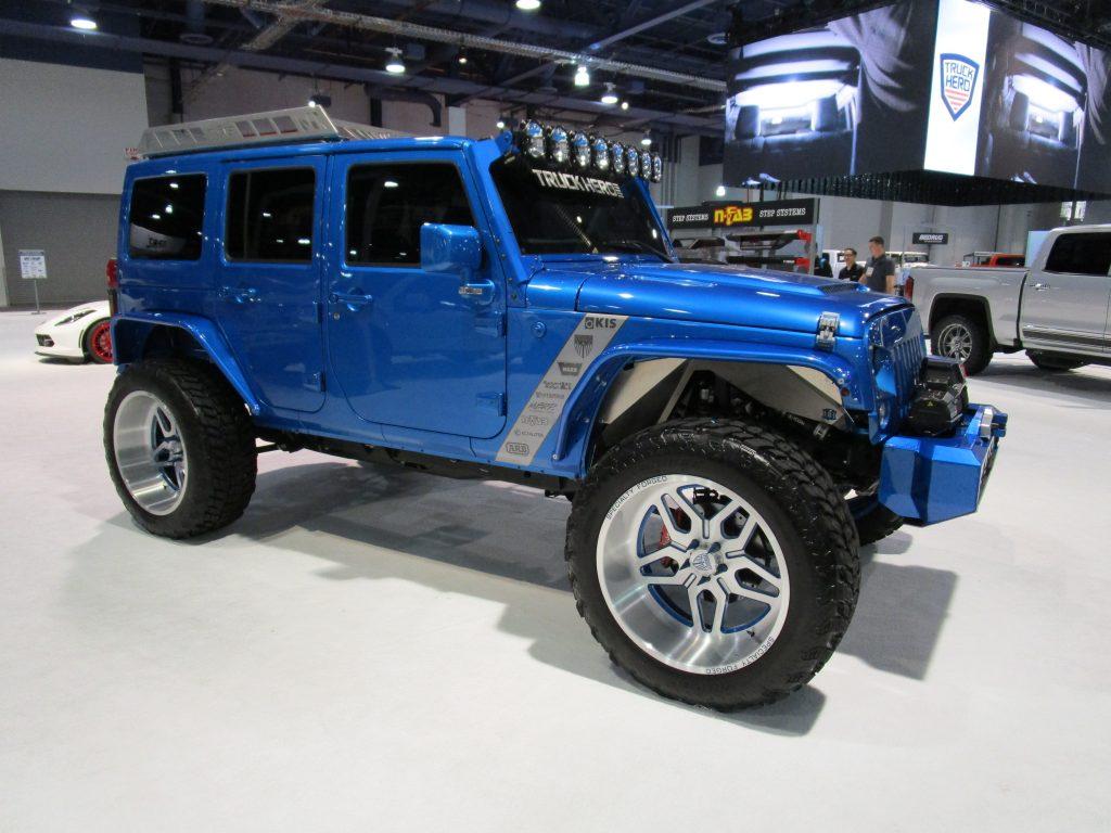 Blue Four Door Jeep Wrangler