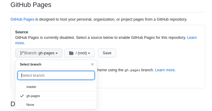 Select branch for GitHub pages