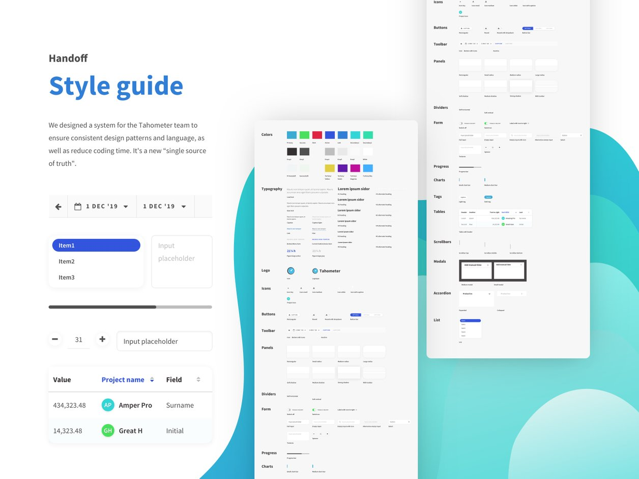 Handoff and Style Guide - UX Design | Tahometer