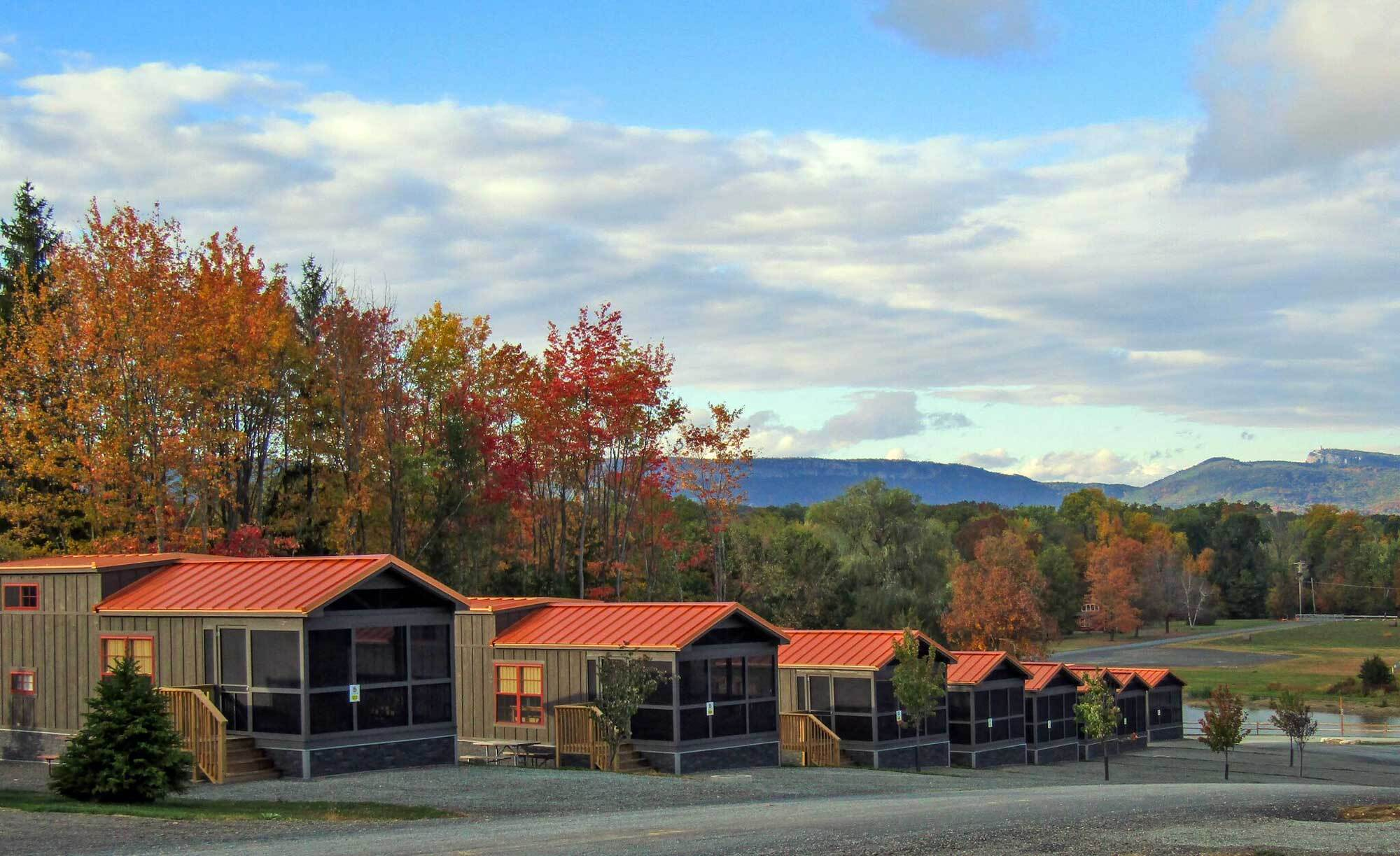 Cabins at Yogi Bear's Jellystone Park Camp-Resort in Gardiner, New York.