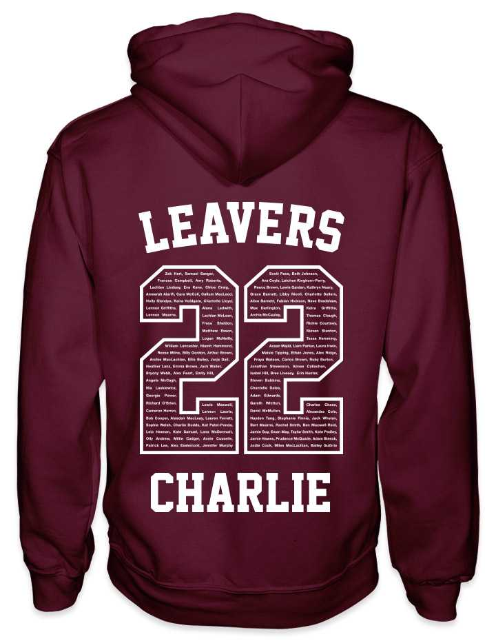 leavers hoodies classic varsity design with leavers printed across shoulders, names in a number 22, nickname printed at the bottom