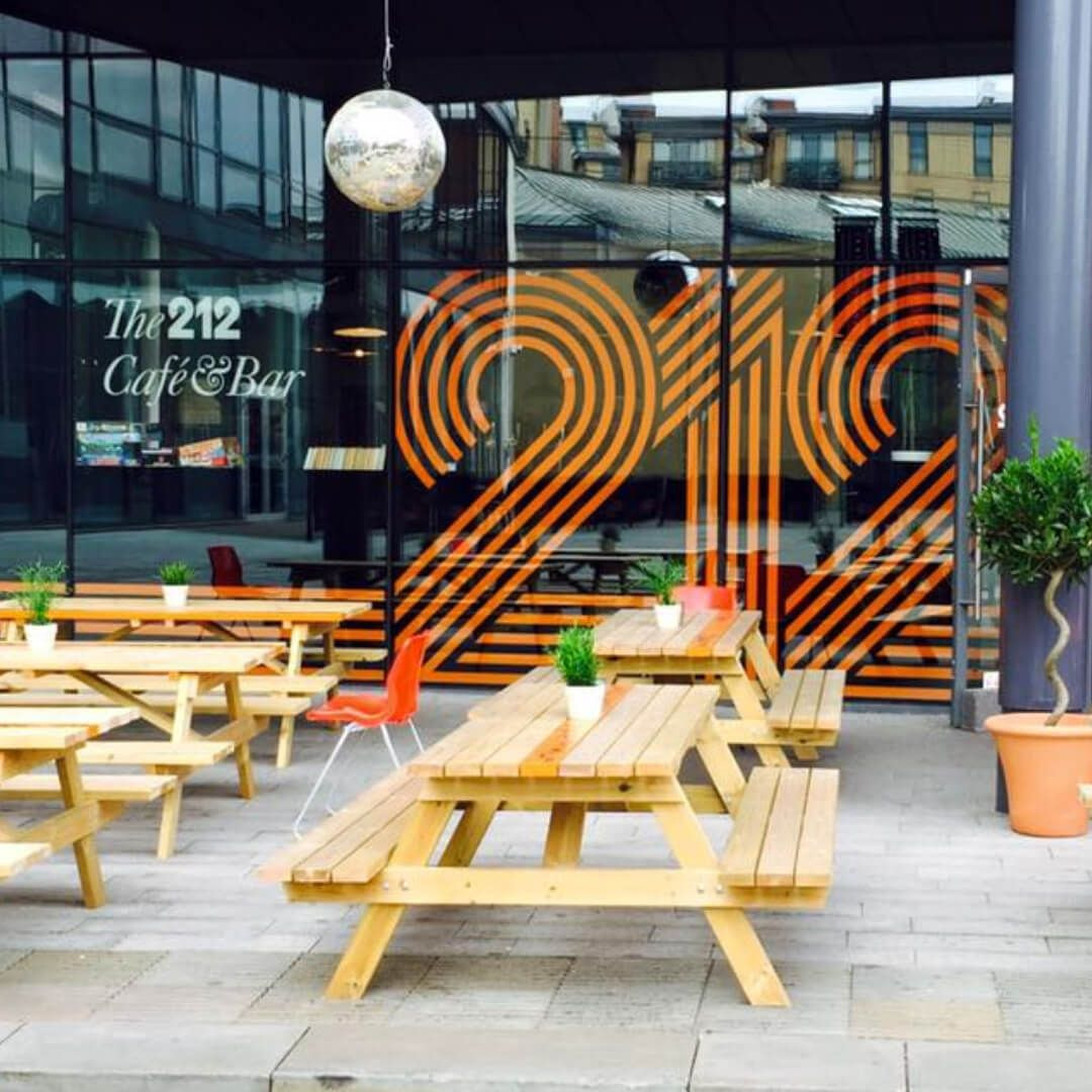 Outside tables at 212 Café & Bar Leeds