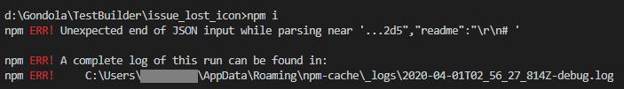 JSON Parse-npm i error