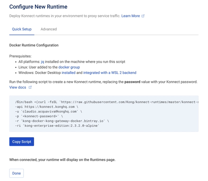 Configure New Runtime
