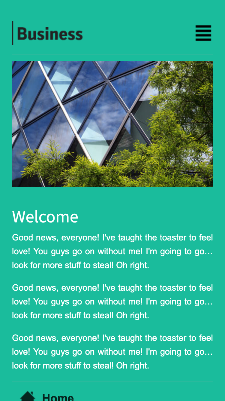 Screenshot of Turquoise Business Mobi mobile website template