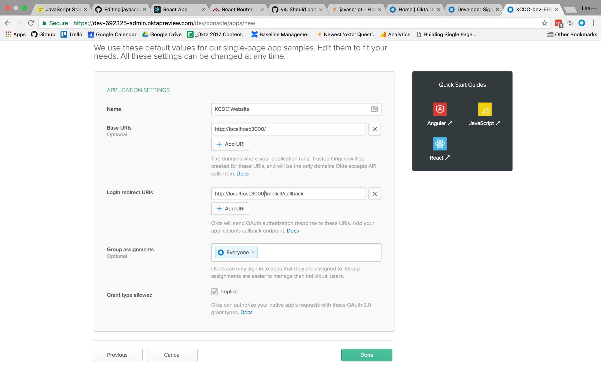 single page app settings screen