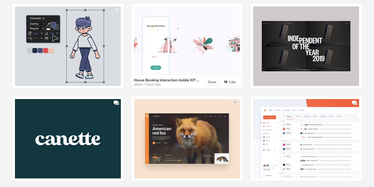 Dribbble screen featuring six cards