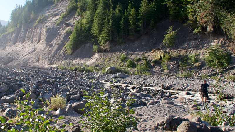 Hikers searching for a way to cross Sandy River