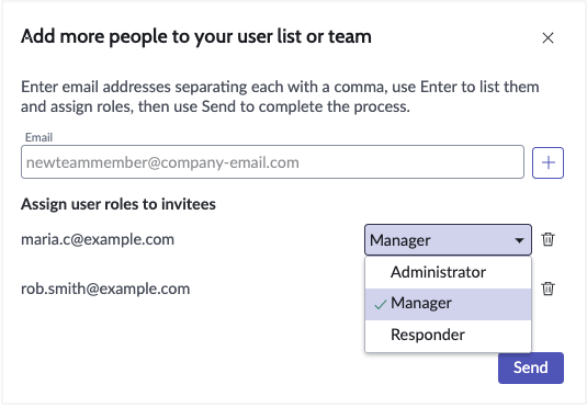 Select role for each user
