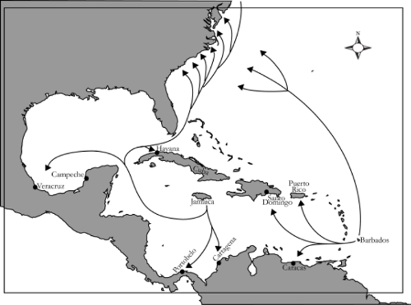 Slave trade routes in the Carribean