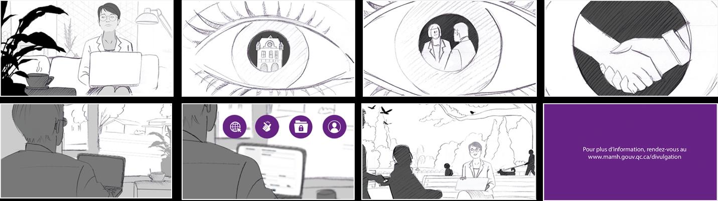 Illustration tirée de la vidéo de motion design pour la vidéo sur les actes répréhensibles.
