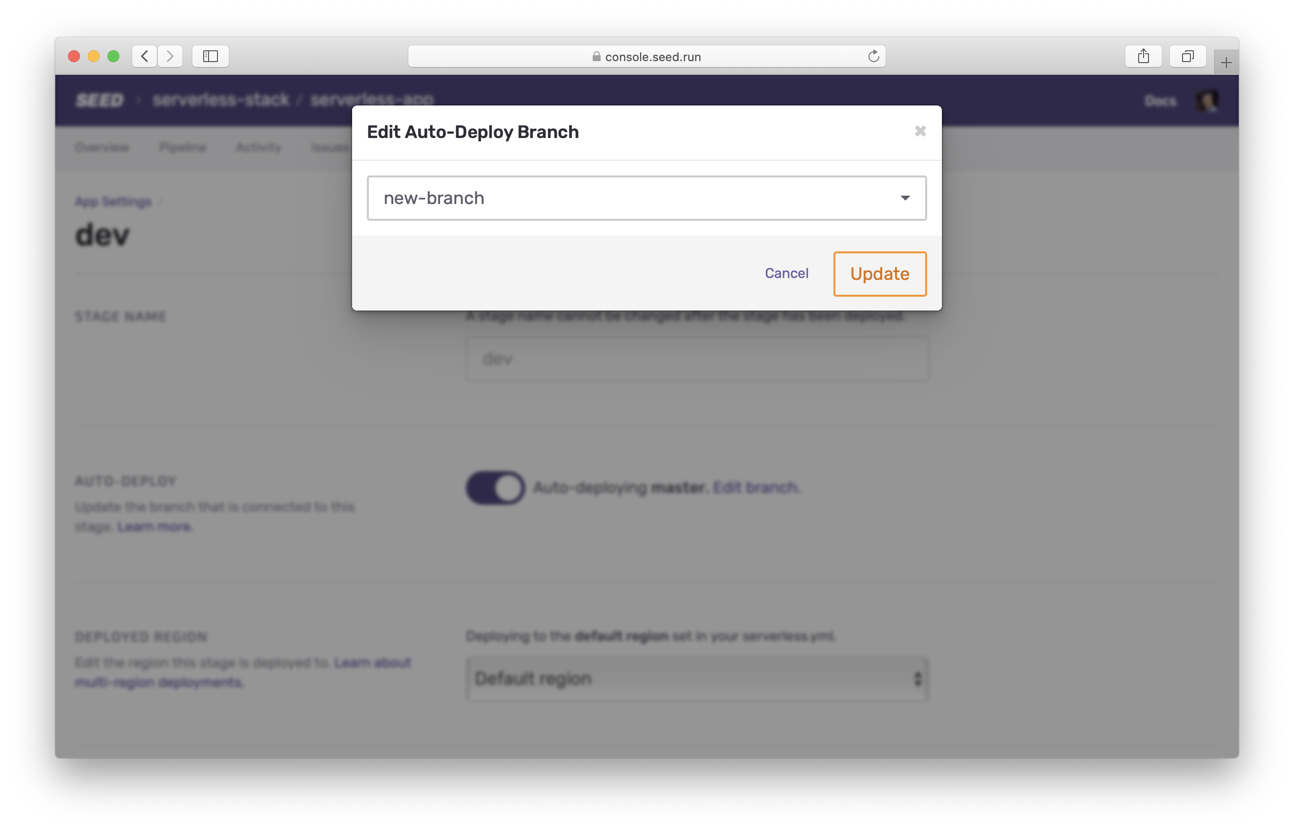 Select branch to auto-deploy