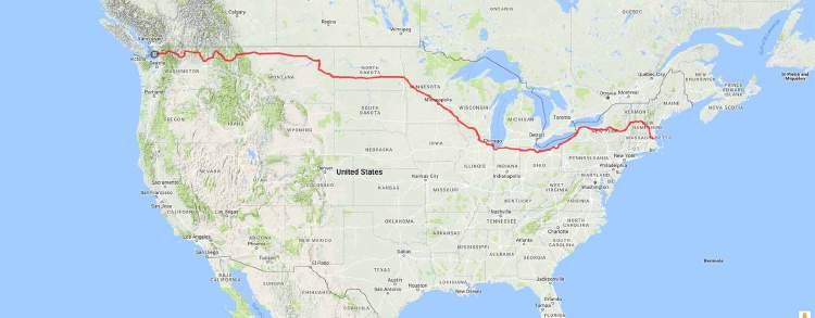 The planned route of my month long self-supported cycling trip