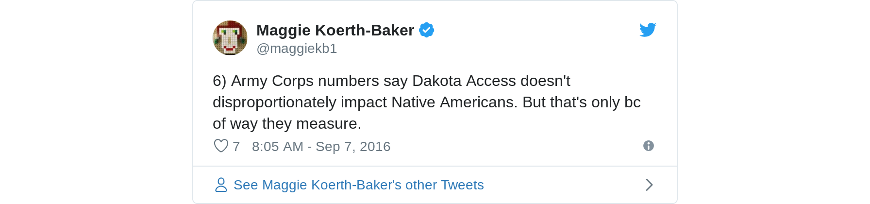 6) Army Corps numbers say Dakota Access doesn't disproportionately impact Native Americans. But that's only bc of way they measure.
