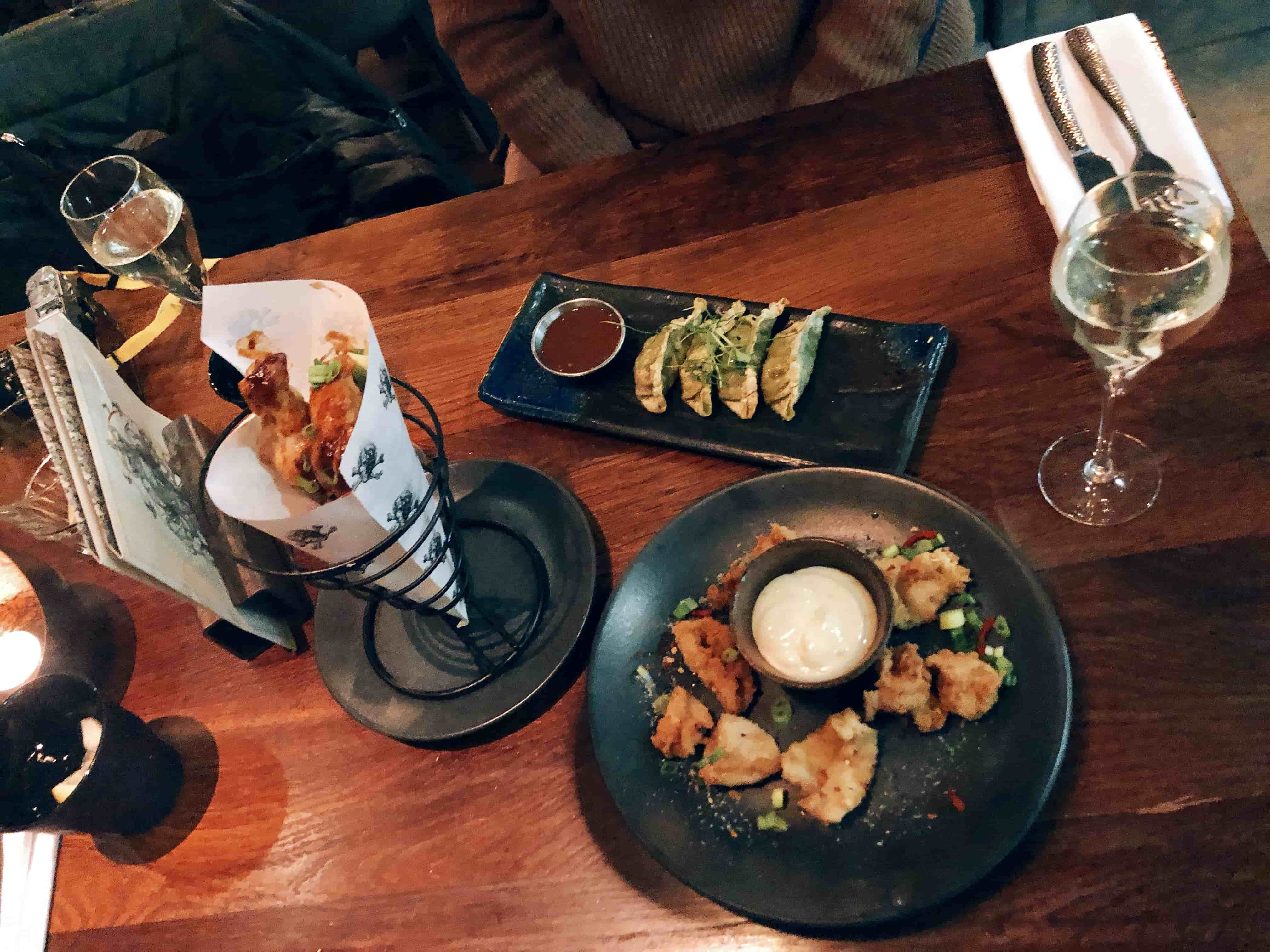 BBQ wings, Vegetable gyozas, Salt and pepper squid