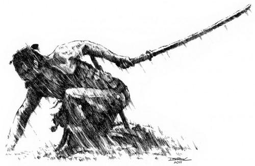 Kneeling Samurai Sketch