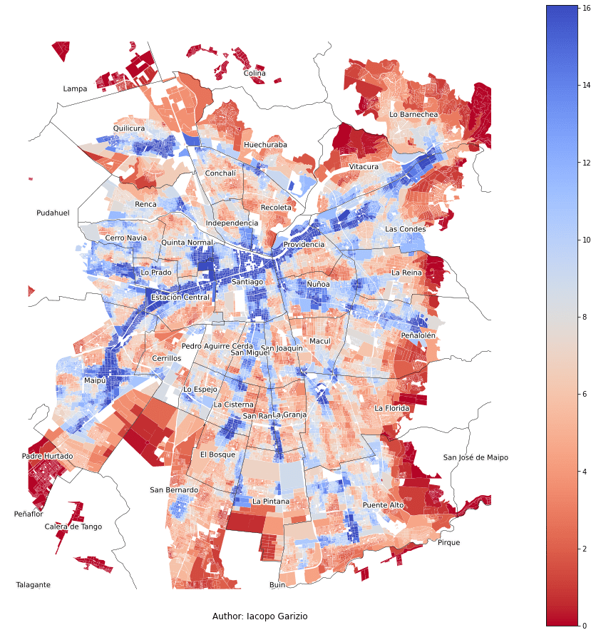 Average number of unique bus routes or Metro lines within 900m in Santiago