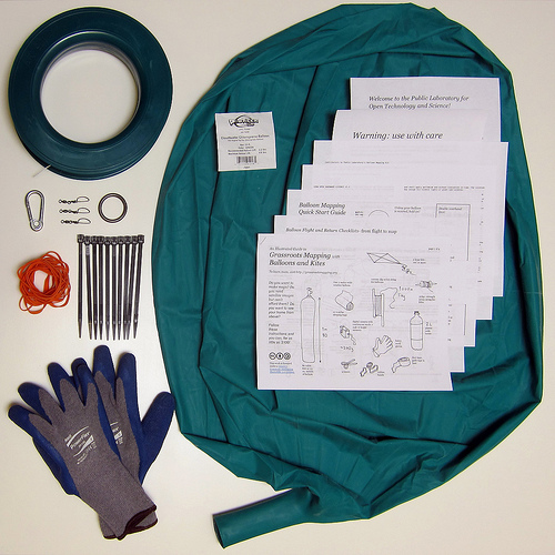 The Public Laboratory sells balloon mapping kits such as these, with a large balloon and adhesives for a camera, to equip citizens with supplies for crowd-sourced knowledge-making.