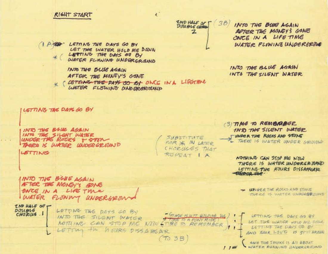 Куплеты к«Once inaLifetime», написанные Бирном. Фрагмент иллюстрации изкниги «Как работает музыка»