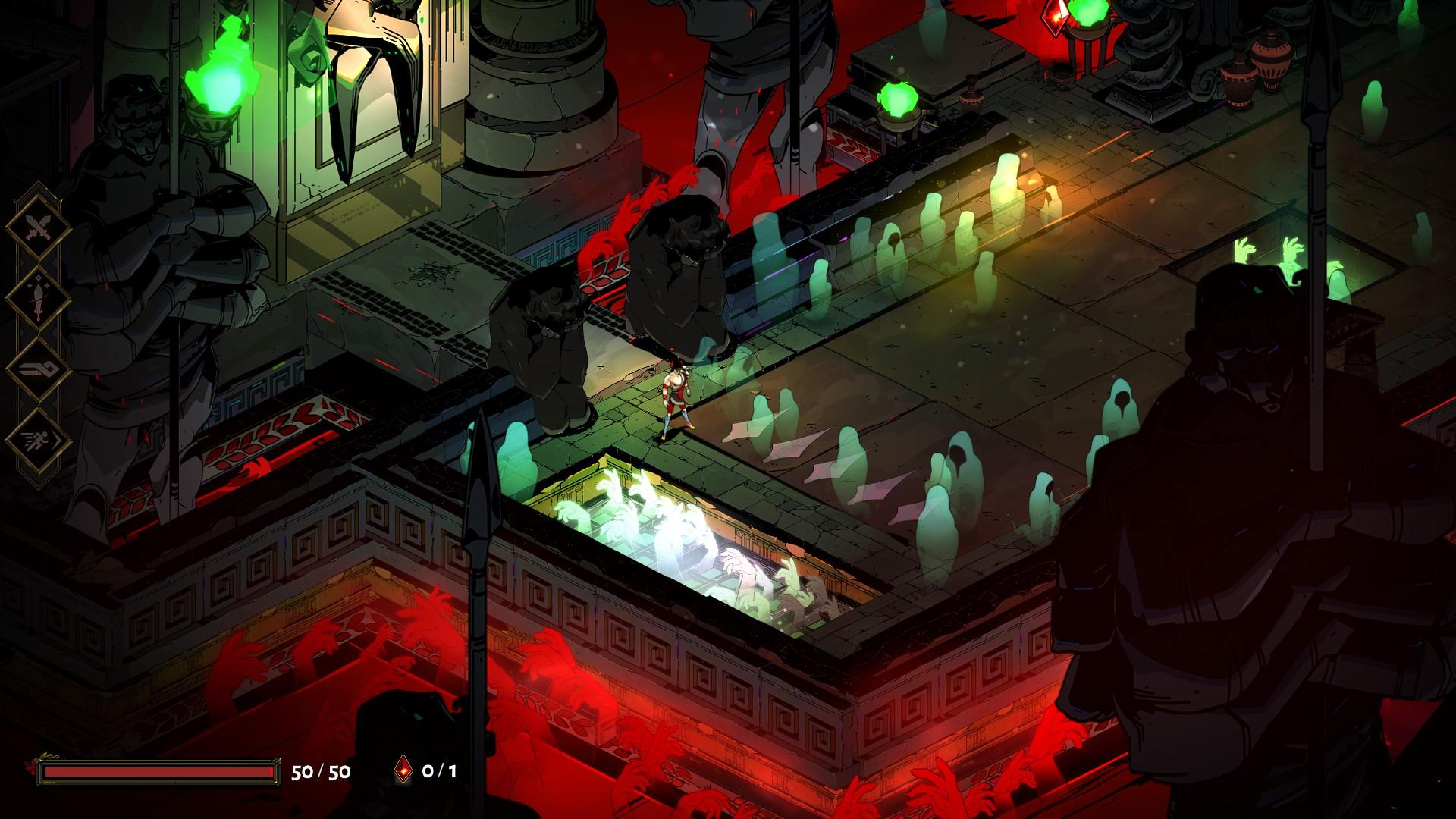 Beginning of Tartarus, full of ghosts and creepy hands.