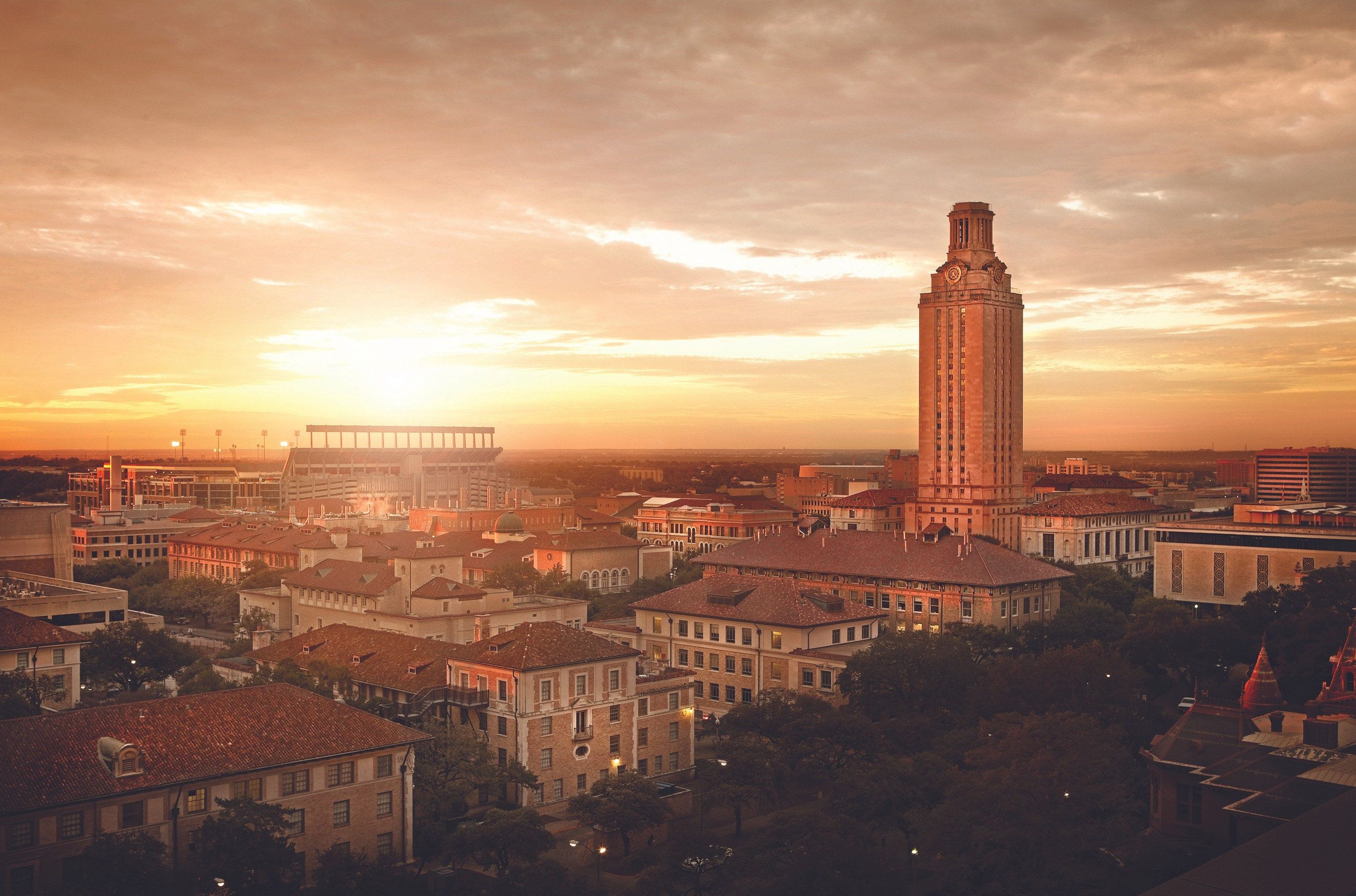 UT Austin campus image at sunset