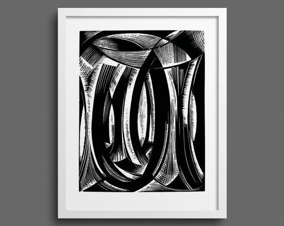 In the Midst of the Waters by Paul Nash – Genesis woodcut print
