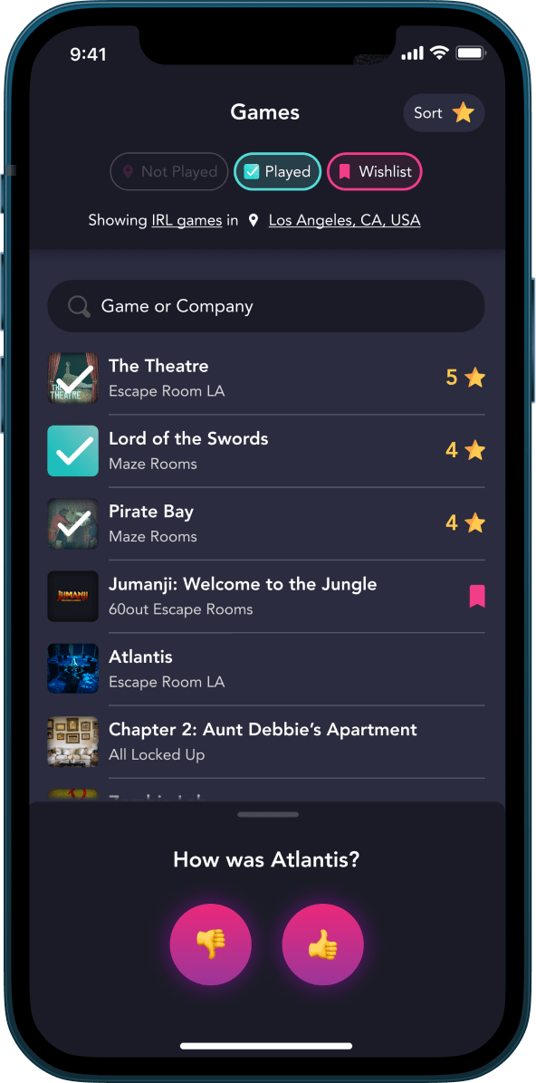 Screenshot of Morty, an app for discovering, booking, and tracking escape rooms. Find legendary escape games, coordinate with friends, and record your wins.