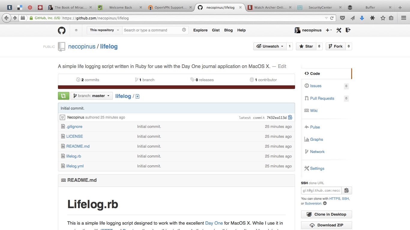 A screen capture of the GitHub project for Lifelog.rb.