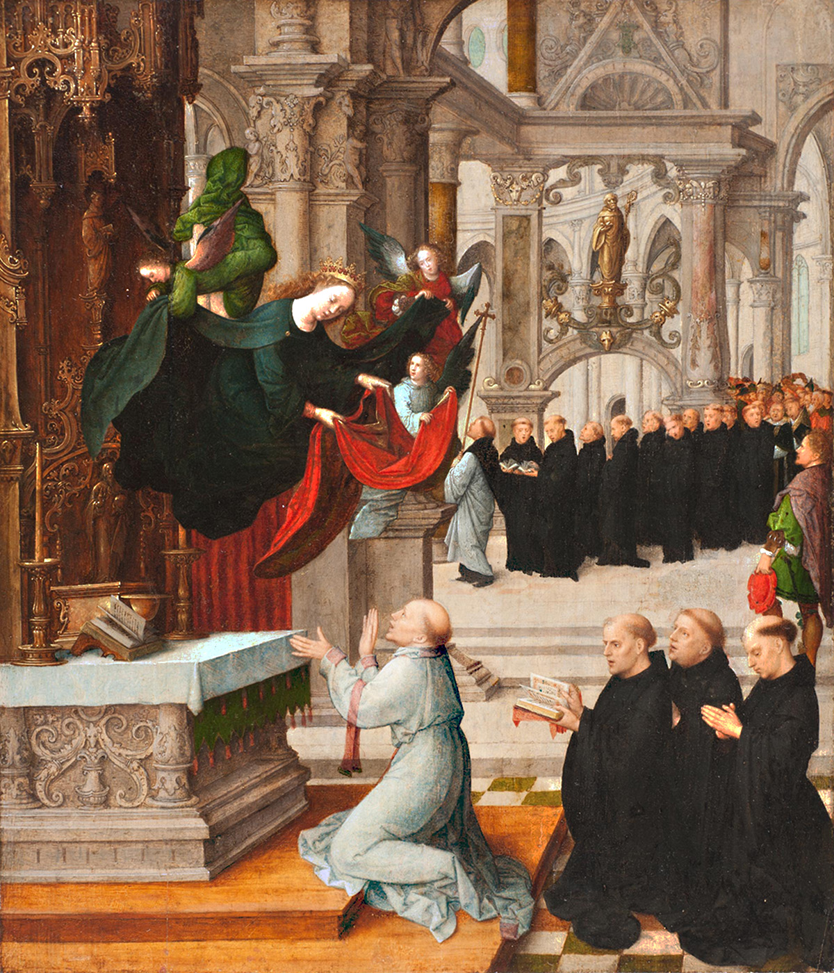 Angles descend on a procession of men worshiping before an altar.