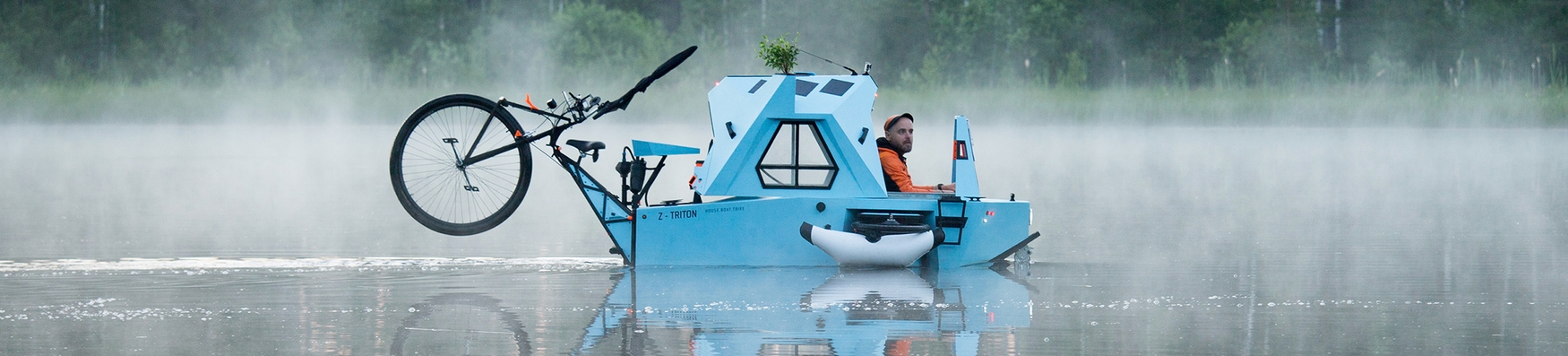 Z-Triton. Amphibious E-Camper. House-Boat-Trike.