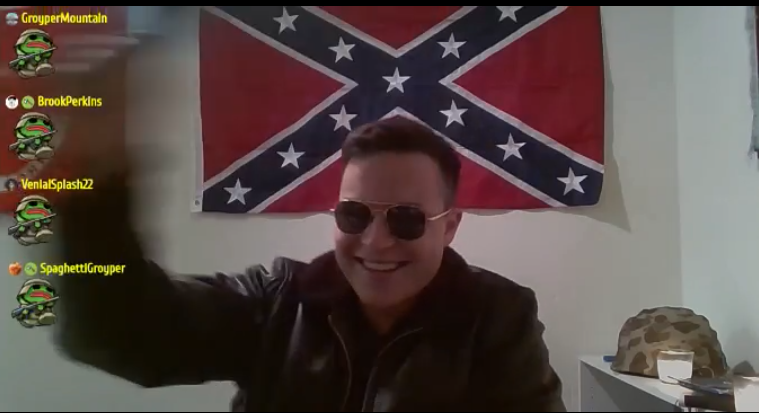 Sanchez streaming in front of a Confederate battle flag. People in chat have Groyper in a stormtrooper outfit as their icons
