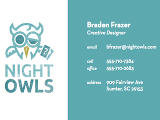 Night Owls business cards