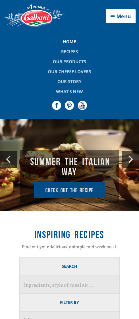 Galbani recipes page mobile view with main menu expanded.