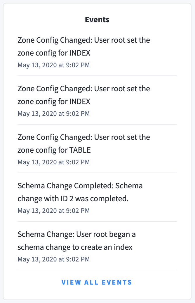 CockroachDB Admin UI Events