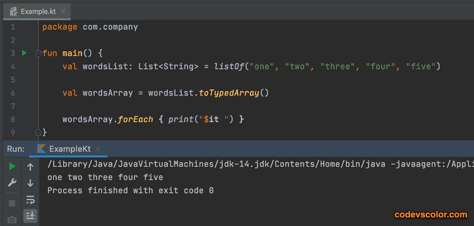 Kotlin convert list to array