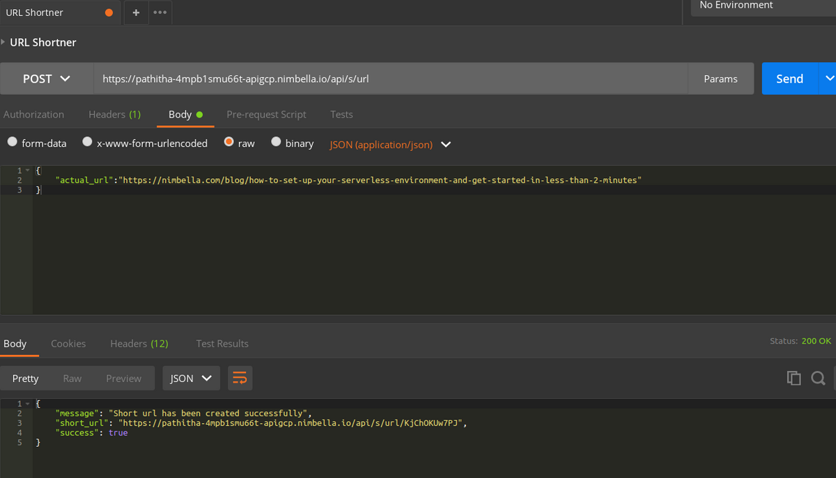 Test API for the Shortener service with Postman